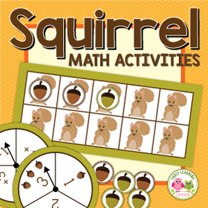 squirrel math and counting activities for preschool and pre-k
