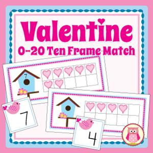 valentine math activity...ten frame match