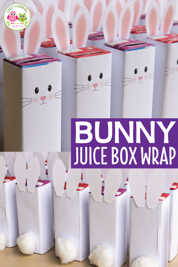 Here is the perfect, simple snack idea for your kids Easter party or Spring celebration. Use the free printable juice box wrap to make a cute bunny juice box. Complete them with pom-poms or cotton balls for tails. Your kids will love these little rabbits. They are the perfect snack addition to your Easter theme, spring theme, or bunny theme unit and lesson plans in your preschool or pre-k classroom. #preschool #preschoolsnack