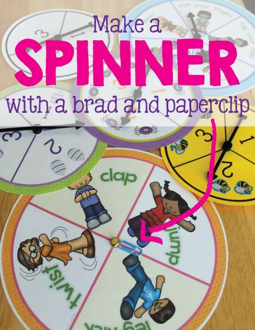 Make a game spinner with a brad and a paperclip.  This article contains a printable spinner and video tutorial showing how to make an inexpensive spinner with simple office supplies....perfect for making spinners for preschool, pre-k, kindergarten, early childhood, and elementary learning games.