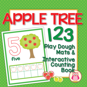 Apple play dough mats and interactive counting book