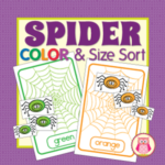 spider color match and size sort activity