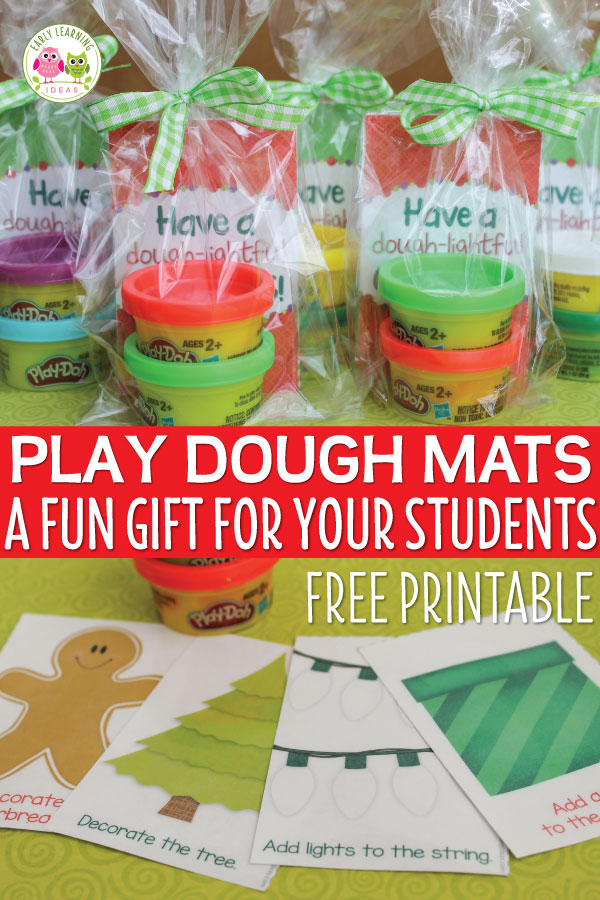 Download these free printable Christmas play dough mats make a great Christmas gift for students in your classroom, an inexpensive party favor, or a fun activity for a kids Christmas party. Easy to assemble...just print, laminate, and cut and add play dough.....a printable gift tag is even included. This is a great fine motor activity for kids in preschool, pre-k, and kindergarten. Children will love this gift from their teacher and parents will love that it doesn't contain sugar. #preschool