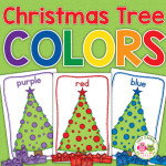 Christmas tree color sorting activity for preschool and pre-k