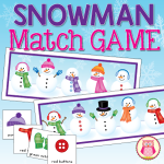 Snowman Match Game by Jennifer Hier at Early Learning Ideas