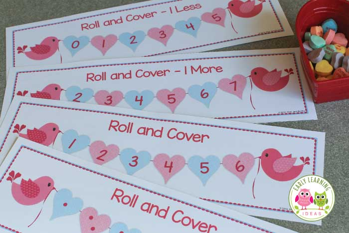 Here is a fun Valentine's Day game for kids. Use this free printable roll and cover number game in your Valentine's Day theme math centers or workstations. Perfect for your preschool, pre-k, and kindergarten classroom. Use this hands-on math game to teach subitizing, counting, numeral recognition plus the concepts of one more and one less. Kids will love these hands-on printables. February math, February math work stations, work tubs. #preschool #kindergarten #valentinesdayactivities
