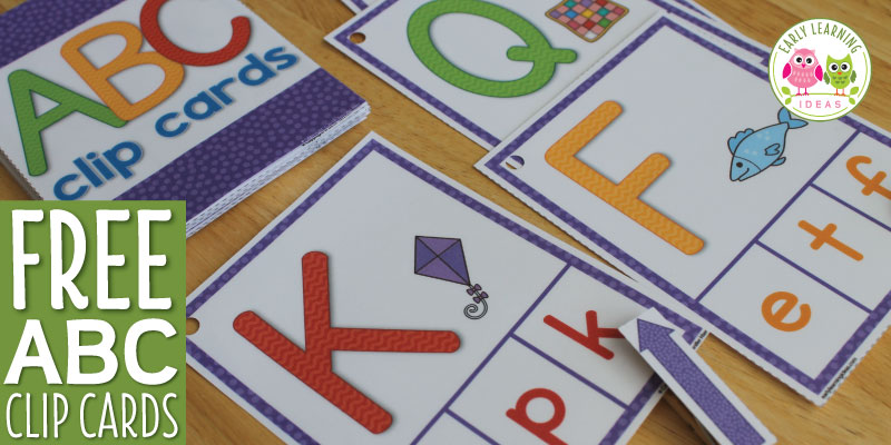 ABC clip cards are a multi-sensory and engaging way to practice alphabet, letter recognition and letter sound for preschool, pre-k, kindergarten, and early childhood education.  Great for independent learning centers, busy bags, and take home activities.  Free ABC activity for preschool, pre-k, and kindergarten.