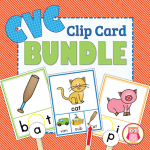 CVC Clip Cards are a great multi-sensory way to segment CVC words. A great independent literacy learning center activity for preschool, pre-k and kindergarten.