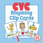CVC Rhyming Clip cards are a multi-sensory way to practice rhyming with preschool, pre-k, and kindergarten kids.