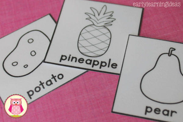 This free fruits and vegetables printable can be used for a grocery store scavenger hunt, in your writing or dramatic play centers, or can be used for a matching game. A great addition to a healthy foods unit!