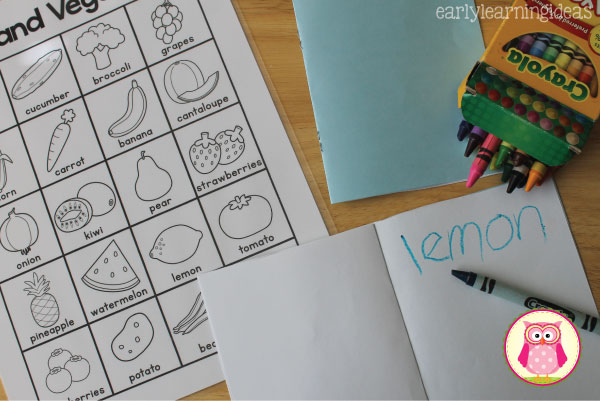 This free fruits and vegetables printable can be used for a grocery store scavenger hunt, in your writing or dramatic play centers, or can be used for a matching game. A great addition to a healthy foods unit! for preschool or tot school