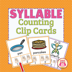 Syllable Counting Clip Cards are a fun, multi-sensory way for kids to practice syllable segmentation. Great for literacy learning centers for preschool, pre-k, kindergarten, and early childhood learning.
