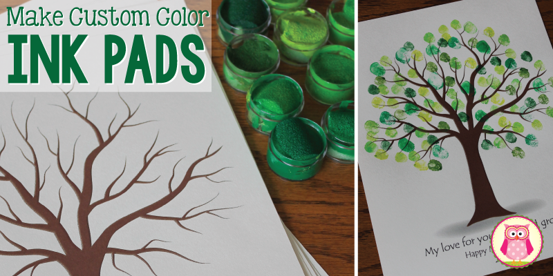 Make your own custom colored ink pads with paint, glue, and a sponge. Ink pads can be used to make a fingerprint keepsake tree or any fingerprint craft for kids.
