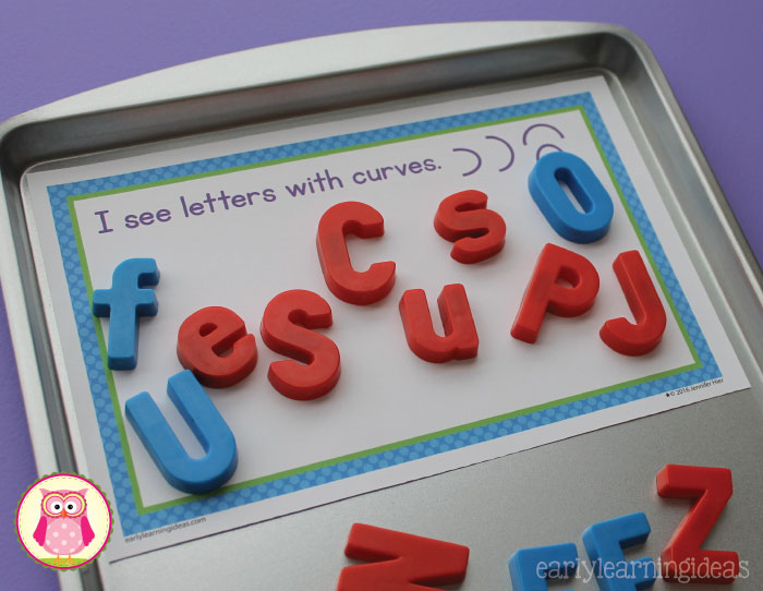 Sorting magnetic letters on sorting mats is a great way to help children learn how to identify each letter of the alphabet. I like to use the free printable sorting mats on a cookie sheet with magnetic letters. This is a great ABC literacy activity for preschool, pre-school, and even tot school.