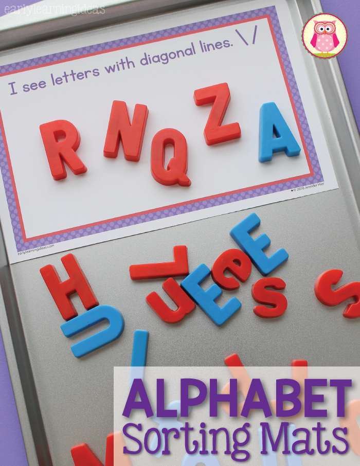 sorting magnetic letters on sorting mats is a great way to help children learn how to