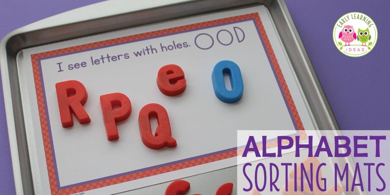Free alphabet sorting mats can be used with magnetic letters, alphabet beads, alphabet blocks, etc. Kids can sort letters by attribute. This activity will help you teach letter recognition, letter identification, and letter formation. Perfect for literacy centers or ELA work stations in preschool, pre-k, and kindergarten