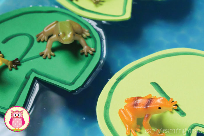 Frog counting activity - Make numbered lily pads and use them, along with small toy frogs, in a sensory bin, water table, or large container filled with water.  The article includes directions for making the lily pads. a printable pattern that you can download, and several frog themed math activities that are appropriate for preschool, pre-k, kindergarten, prep, aged children.