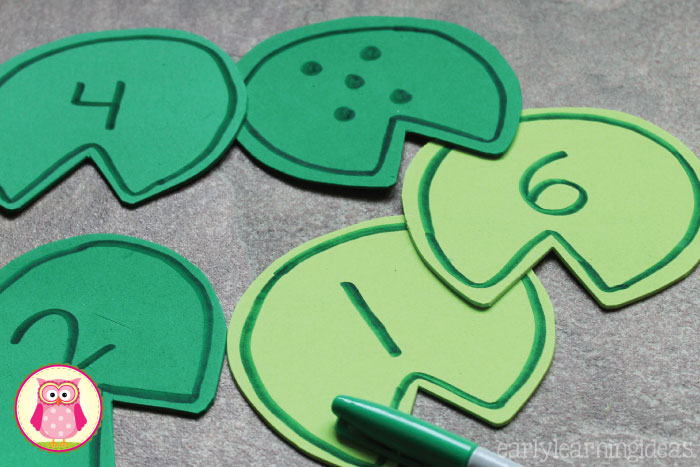 Frog counting activity- Make numbered lily pads and use them, along with small toy frogs, in a sensory bin, water table, or large container filled with water.  The article includes directions for making the lily pads. a printable pattern that you can download, and several frog themed math activities that are appropriate for preschool, pre-k, kindergarten, prep, aged children.