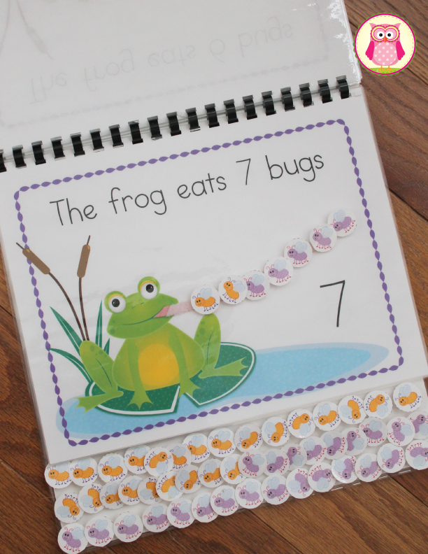 Hungry Frog Interactive Counting Book. Kids can practice counting as well as composing and decomposing numbers as they feed flies to the hungry frog on each page of this interactive book. Enjoyed by kids in preschool, pre-k, tot school, prep, and kindergarten.