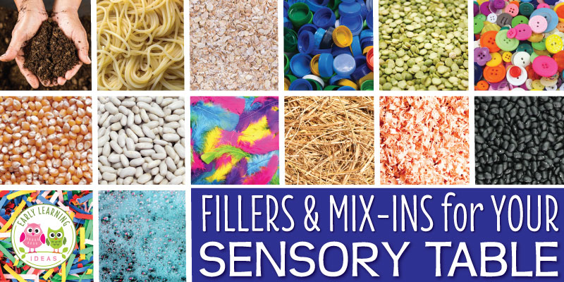 You're going to love this huge free printable list of ideas for your sensory table materials. Check out this HUGE list of ideas for fillers, mix-ins, and tools to use in your sensory table or sensory bin. Spring, summer, fall, winter there are ideas for all seasons & the combinations are endless. Use them with any themed lesson plans (from back to school to transportation to dinosaurs) in your preschool or pre-k classroom. This will make planning sensory activities easy. #sensoryactivities
