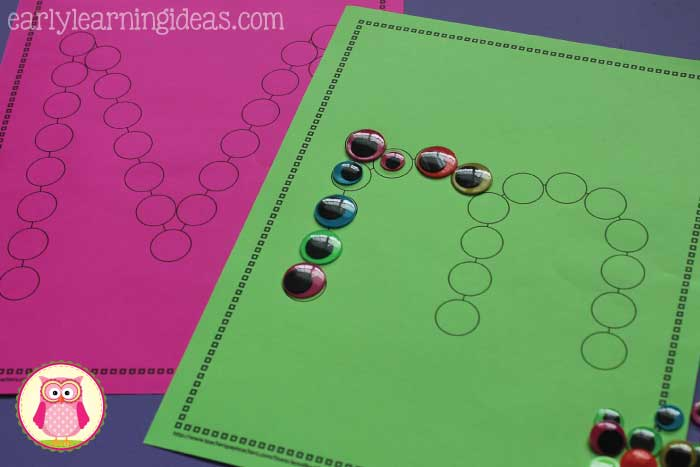 "monster activities for kids - Kids can add ""monster eyss"" to these ABC Dot Worksheets as they practice the m sound, work on letter formation, letter recognition, and even practice fine motor skills. A great Halloween, monster theme, or letter of the week activity for preschool, pre-k, and kindergarten."