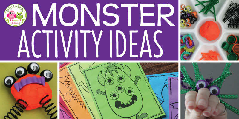 Check out all of these monster ideas for your kids. Here are fun learning activities that you can add to your monster theme, Halloween theme, or October theme unit and lesson plans. From process art and letter activities to math game printables and fine motor craft activities, your kids love these learning centers. Perfect for #preschool & #prek. Get out the play dough and the googly eyes for some monster fun. #monsteractivities #halloweenactivities #finemotoractivities #halloweenmath