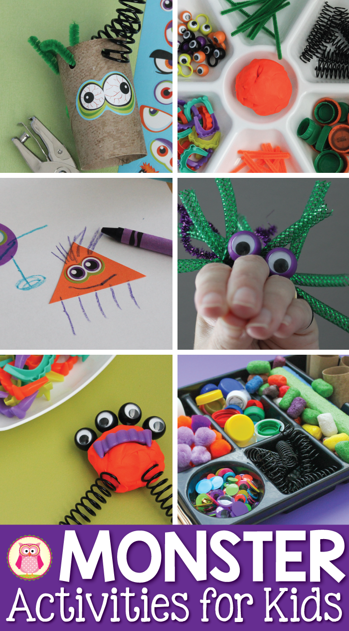 Here are a variety of monster activities for kids that are perfect for your Halloween or monster themed learning center, unit, or party. Perfect for preschool, pre-k, kindergarten, and SPED.
