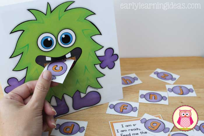 Feed the Monster Activity is fun way to work on ABC's, rhyming words, beginning sounds, shapes, colors. It is a great interactive activity to use for Halloween or a monster theme in preschool, pre-k, and kindergarten.