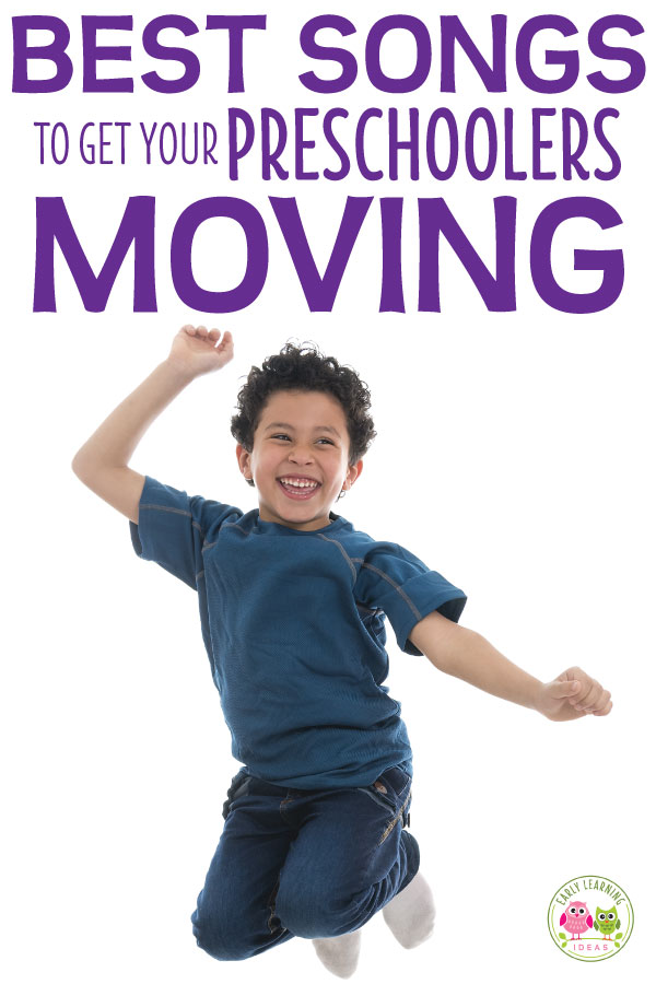 Here is a list of the best fun preschool movement songs. Try out a few of these silly action songs to get your preschoolers moving and grooving. These are great circle time ideas and music ideas for preschool, pre-k, kindergarten. Includes links to youtube preschool songs. Work on gross motor skills coordination. Your kids will love to dance and sing along with these early childhood favorites. #preschoolsongs #preschool #circletimesongs #circletime