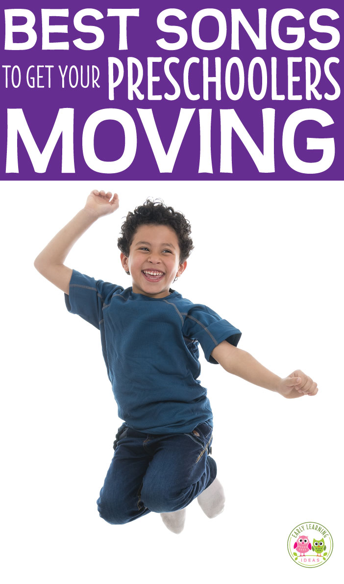 Here is a list of fun preschool movement songs. Try out a few of these action songs to get your preschoolers moving and grooving. Great circle time ideas and music ideas for preschool, pre-k, kindergarten, and prep. Includes links to youtube preschool songs. Work on gross motor skills coordination. Preschool music and movement ideas.