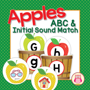 Apple ABC match and beginning sound sort activity