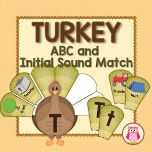 thanksgivng turkey themed alphabet and beginning sound sort