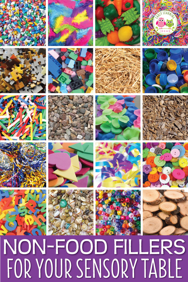 You are going to love this huge free printable list of ideas for your sensory table. This list features non-food fillers and mix-ins for your sensory table or sensory bin. Perfect for preschool, pre-k, kindergarten, or prep. Your kids will love these fun ideas. Some of the ideas will serve as fine motor activities as well. Your children will have so much fun learning with these materials. #preschool #sensorytable