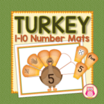 turkey and Thanksgiving theme number mats for number recognition, counting, numeracy
