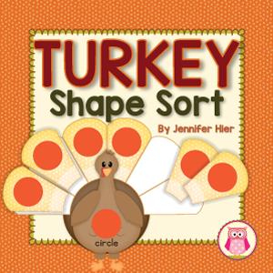 Thanksgiving turkey shape sorting activity for preschool, pre-k