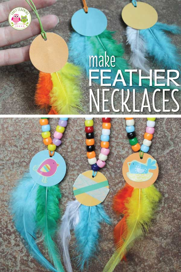These feather necklaces are a fun fine motor activity for kids and are a perfect addition to a Thanksgiving, turkey, or Spring birds theme unit or lesson plans. The article also includes ideas for working on math concepts like counting, comparing quantities, and creating patterns.  This is a perfect hands on math and fine motor activity for your preschool, pre-k and kindergarten classroom. #preschool #finemotoractivities #prek