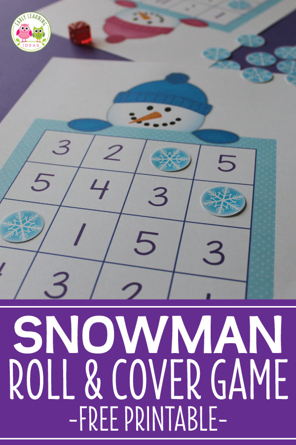 Use this fun snowman game to help kids work on number skills. The free snowman printable includes 4 levels of game boards and ideas for different learners. Perfect for your math centers in preschool, pre-k and kindergarten classroom. Kids can learn dot patterns, numeral recognition and simple +1 addition (one more) and simple -1 (one less) subtraction. Perfect for you snowman theme, winter, snow, snowy day or the mitten theme unit and lesson plans.  Fun winter math activities!  #preschool