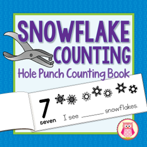 Snowflake hole punch book for fine motor and math fun