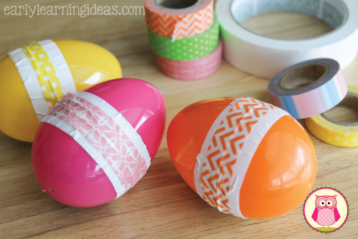 Looking for a fun arts and crafts for kids?  Make shaky eggs!  Ideas to incorporate STEM, math, language, and movement are included with the directions. This fun project is perfect for your preschool, pre-k, kindergarten, and prep, age kids. Work on fine motor skills, gross motor skills, syllable emphasis and counting with this fun project. Perfect for Easter, spring, or any time of year.