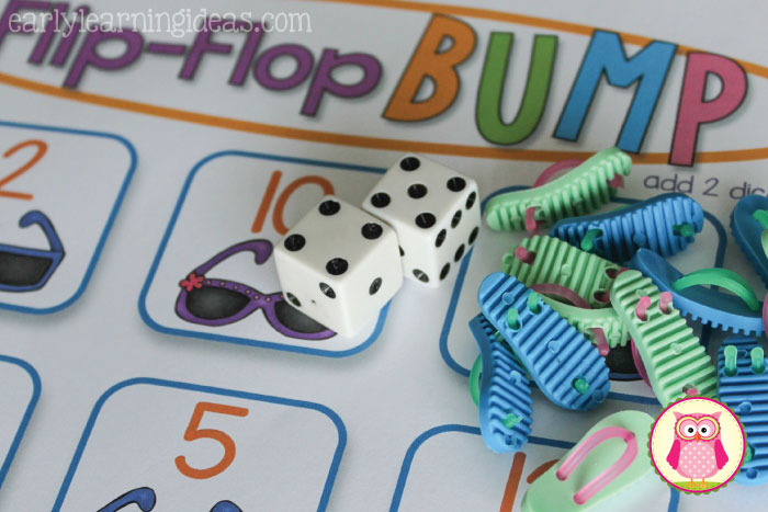 Make math fun with kids number games. Download the free printable game boards to work on numeral recognition plus the concepts of one more, one less, and simple addition. This flip-flop themed math game is great for your math centers in preschool, pre-k, kindergarten, and prep....could even be a fun activity to send home for summer learning.
