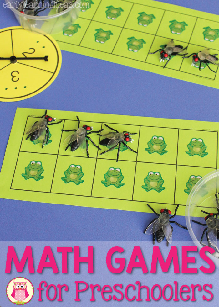 Math games for preschoolers are a great way to teach and reinforce basic math concepts. Here is a simple ten frame game (with free printables) that kids love to play. The games are perfect for your math center in preschool, pre-k, kindergarten, and prep. This is a frog themed game, but the game can be customized to go with your seasonal or thematic unit.