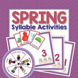 spring theme syllable activity for preschool, pre-k and kindergarten