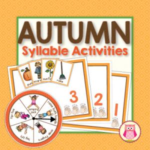 autumn syllable activities for preschool, pre-k and kindergarten