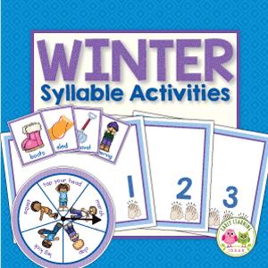 winter theme syllable activities for preschool pre-k and kindergarten