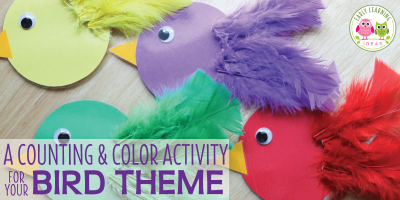 Get out your feathers and craft this fun learning activity. With a few materials, you can make this fun bird color sorting and counting activity. Kids will love this hands-on math and fine motor activity. Teach colors, counting, composing and decomposing numbers, patterning and more.....Instructions and ideas included. Perfect for your bird theme or spring theme unit or lesson plans in your preschool or pre-k classroom. #preschool #preschoolactivities #finemotor