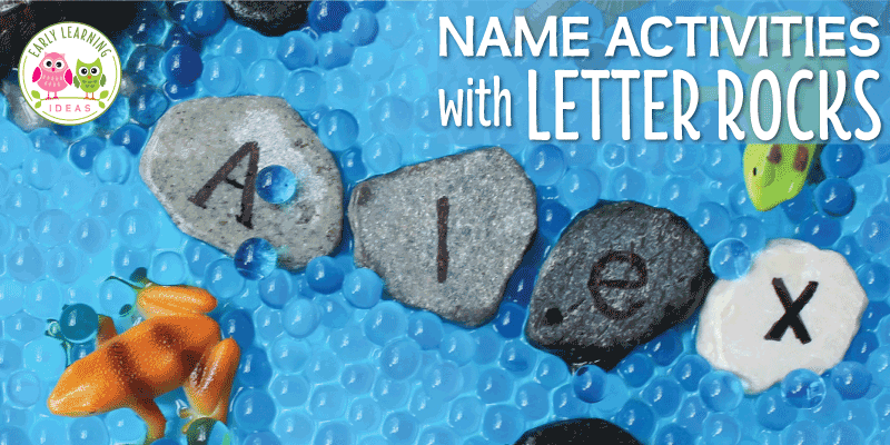 Use letter rocks for a fun name activity in your early childhood classroom. Learn how to make the letter rocks. They are simple and easy to make, and can be used for many hands-on literacy activities for kids. Perfect for your literacy center, sensory table or sensory bin your preschool or pre-k classroom. Your children will love these name activity ideas as part of your frogs theme, pond theme, spring theme, or construction theme unit and lesson plans. #preschool #nameactivities