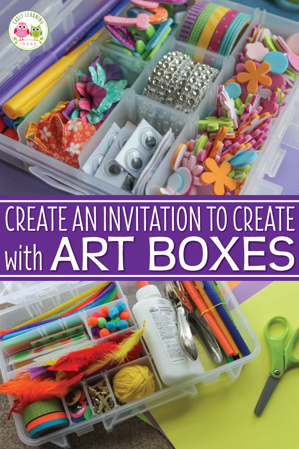 Are you are looking for open-ended and easy art ideas for kids?  Fill some art boxes or tinker trays with a variety of materials let your kids create.  Use art boxes in your art center, maker space or as a gift for a special child. Perfect for preschool, pre-k, kindergarten, prep, and early childhood education STEM and process art centers.   Lots of ideas are included.  Kids will love making projects with these boxes plus they make a great fine motor activity too.  #prescholsteam #preschool