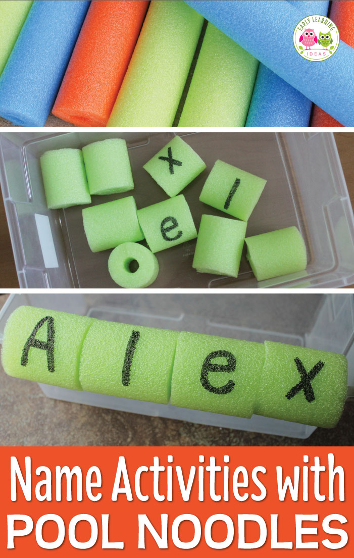 Use a simple pool noodle to make fun name activities for kids. Learn how to make this fun DIY activity ...directions for assembly and ideas for additional literacy activities are included. Perfect to teach your preschool or pre-k age kids to spell their name or recognize their name. Use this simple activity in your literacy centers or sensory bin. Pool noodles aren't just for summer....these activities are great for fall, winter and spring too. Get your directions today #preschool