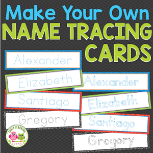 name tracing activity cards