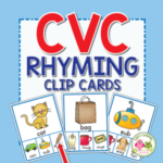 rhyming clip card activity for preschool, pre-k, and kindergarten